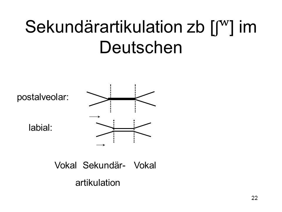 Sekundärartikulation zb [ʃʷ] im Deutschen